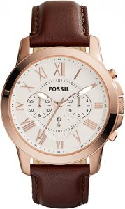Fossil Men's Grant Stainless Steel and Leather Chronograph Quartz