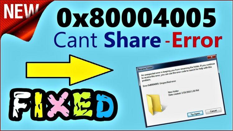 Error 0x80004005