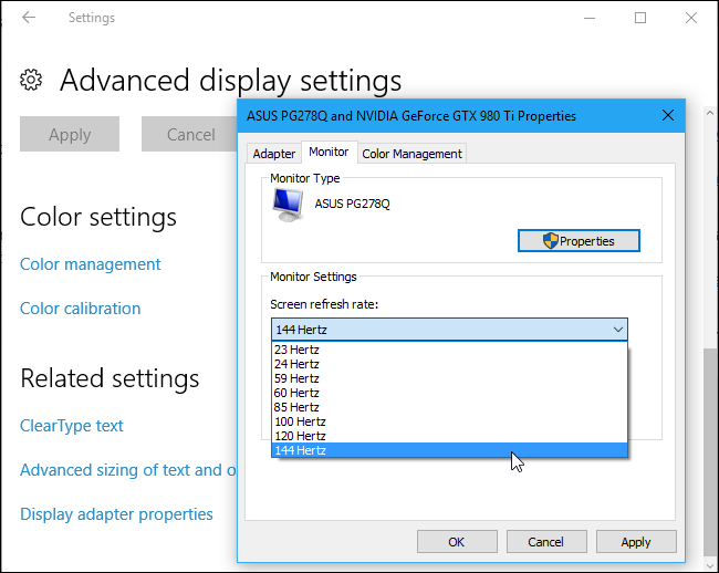change refresh rate windows 10