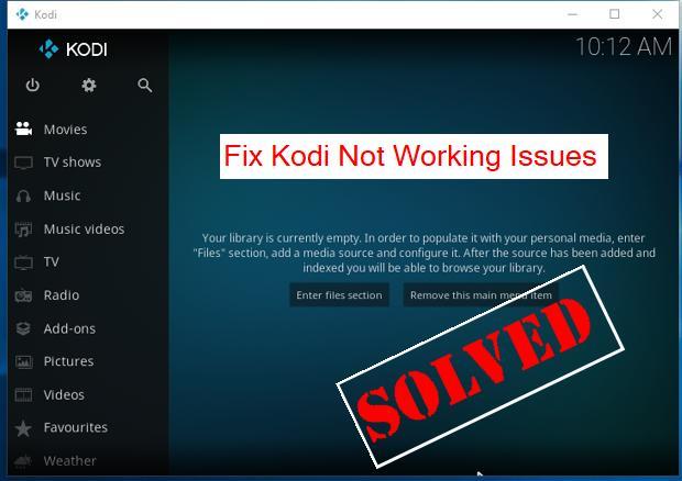 kodi has stopped working windows 10