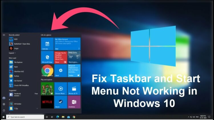 taskbar not working