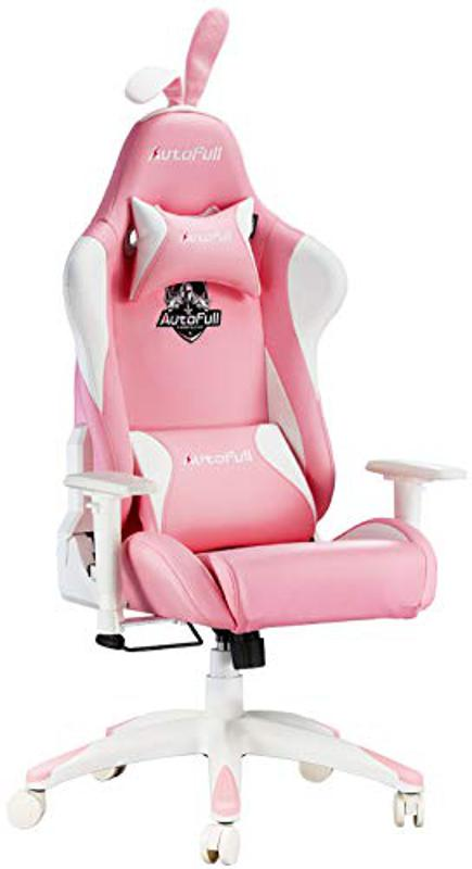 AutoFull Pink Gaming Chair With Rabbit Ears
