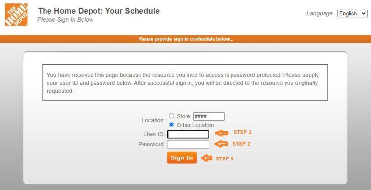 my apron home depot login schedule